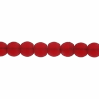 4mm Red Frosted Round Glass Beads (75PK)