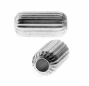 4mm x 8mm Sterling Silver Corrugated Cylinder Beads (10PK)