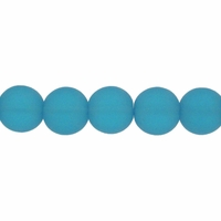 6mm Aqua Frosted Round Glass Beads (54PK)