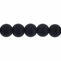 6mm Black Frosted Round Glass Beads (54PK)