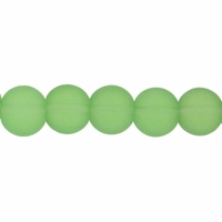 6mm Lt. Green Frosted Round Glass Beads (54PK)