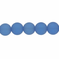 6mm Lt Sapphire Frosted Round Glass Beads (54PK)