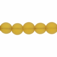 6mm Lt Topaz Frosted Round Glass Beads (54PK)