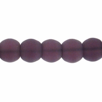 6mm Purple Frosted Round Glass Beads (54PK)