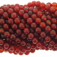 6mm Red Faceted Agate Beads 16 Inch Strand