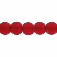 6mm Ruby Frosted Round Glass Beads (54PK)