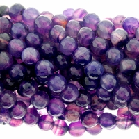 8mm Purple Faceted Agate Beads 16 Inch Strand