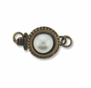 Antiqued Brass 1-Strand Pearl Round Box Clasps (4PK)