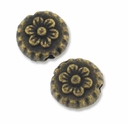 Antiqued Brass 8mm Flower Disc Bead (10PK)