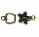 Antiqued Brass Apple Flower Hook & Eye Clasp (1 set)