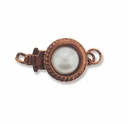 Antiqued Copper 1-Strand Pearl Round Box Clasps (4PK)