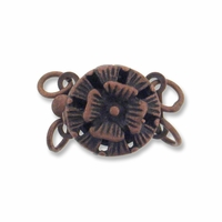 Antiqued Copper 12mm 2-Strand Flower Round  Box Clasps (4PK)