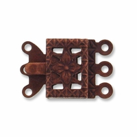 Antiqued Copper 3-Strand Filigree Box Clasps (4PK)