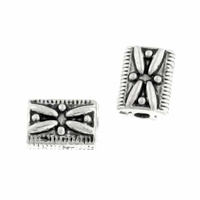Antiqued Silver Decorative Rectangle Beads  (10PK)
