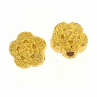 Bright Gold Plated 7mm Flower Beads 4x7mm (10PK)