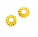 Bright Gold Plated 7x4mm Ornate Rondel Beads (10PK)