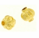 Bright Gold Plated 8mm Corrugated Lantern Bead (10PK)