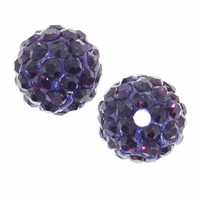 Glitze<sup>TM </sup>Amethyst 10mm Crystal Rhinestone Pavé Epoxy Clay Round Bead (1PC)