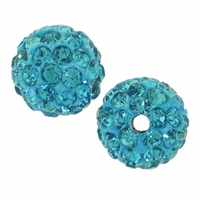Glitze<sup>TM </sup> Aquamarine 10mm Crystal Rhinestone Pavé Epoxy Clay Round Bead (1PC)