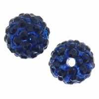 Glitze<sup>TM </sup>Navy 10mm Crystal Rhinestone Pavé Epoxy Clay Round Bead (1PC)
