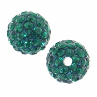 Glitze<sup>TM </sup>Emerald 10mm Crystal Rhinestone Pavé Epoxy Clay Round Bead (1PC)