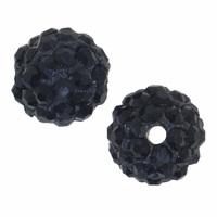 Glitze<sup>TM </sup>Jet 10mm Crystal Rhinestone Pavé Epoxy Clay Round Bead (1PC)