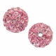 Glitze<sup>TM </sup>Light Rose 10mm Crystal Rhinestone Pavé Epoxy Clay Round Bead (1PC)