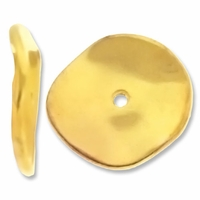 Gold Plated 19mm Wavy Disc Spacer Beads (10PK)