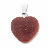 Goldstone 20mm Heart Gemstone Pendant