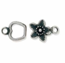 Gun Metal Apple Flower Hook & Eye Clasp (1 Set)