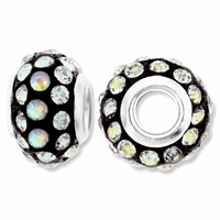 MIOVI™ Rhinestone Beads 15x9mm Large Hole Crystal AB Rhinestone Black Resin Rondelles (1PC)