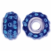 MIOVI™ Rhinestone Beads 15x9mm Large Hole Sapphire Rhinestone Blue Resin Rondelles (1PC)