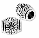 MIOVI� Silver Plated 10mm Flower Drum Bead (1PC)