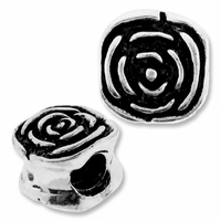MIOVI™ Silver Plated Large Hole 10mm Rose Bead (1PC)