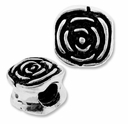 MIOVI� Silver Plated Large Hole 10mm Rose Bead (1PC)