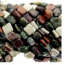 Multi-Colored 14x14mm Square Coin Pearl Bead Strand