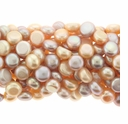 Multi-Color Natural Freshwater 7-8mm Pearl Button Bead Strand