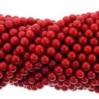 Red Coral Bamboo AAA 6-7mm Round Beads 16 inch Strand