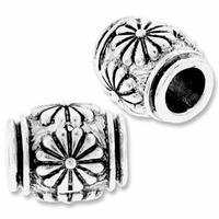 MIOVI™ Silver Plated 10mm Flower Drum Bead (1PC)