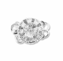 Silver Plated 12mm 2-Strand Flower Round  Box Clasps (4PK)