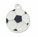 Silver Plated Black and White Soccer Ball Charm