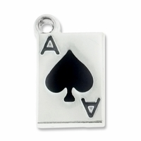Silver Plated Black Enamaled Ace of Spades Charm