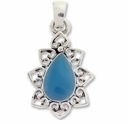 Silver Plated Blue Enameled Pendant