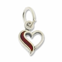 Sterling Silver Small Open Heart with Coral (1PC)