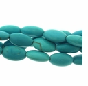 Turquoise (IM) Blue-Green 14x8mm Puffed Oval Beads15 Inch Strand