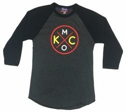 Bunkermade KCMO Unisex 3/4 Sleeve Raglan<br>Red/Yellow/White