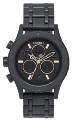 (Sale!!!) Nixon 38-20 Chrono Watch<br>All Black/Rose Gold
