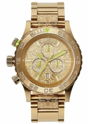 (Sale!!!) Nixon 42-20 Chrono Watch<br>All Gold/Neon Yellow/Beetlepoint
