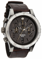 Nixon 48-20 Chrono Leather Watch<br>Brown Gator