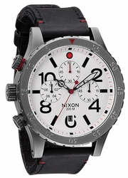 (Sale!!!) Nixon 48-20 Chrono Leather Watch<br>Gunmetal/White